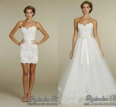 2018 Elegant Sweetheart Two in One Wedding Dresses with Detachable Tulle Skirt 2018 Two Pieces summer holiday Beach short Bridal Gowns Wedding Sundress, Tulle Skirt Wedding Dress, Two Piece Wedding Dress, White Lace Wedding Dress, Simple Bridal Dresses, Bride Gowns, Groom Dress, Designer Wedding Dresses, Wedding Attire