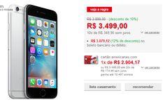 iPhone 6 64GB Cinza Espacial iOS 8 4G Wi-Fi Câmera 8MP << R$ 277120 >>