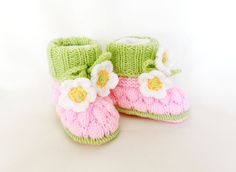 Knitted baby booties knitted baby shoes by Svetlanababyknitting ♥♥