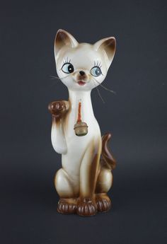 Lucky Kitty Money Box - Vintage Kitsch Cat With Bell Piggy Bank Figurine