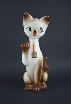 Lucky Kitty Money Box - Vintage Kitsch Cat With Bell Piggy Bank Figurine Wool Wall Hanging, Tapestry Wall Hanging, Retro Vintage, Vintage Items, Money Box, Mid Century Decor, Makers Mark, Piggy Bank, Kitsch