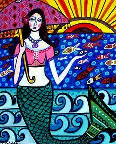 Mermaid Art 14 Count Mermaids Fish Ocean Folk Art Heather GALLER