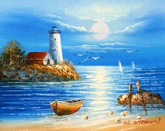 Lighthouse Art, Study Help, Light House, Canvas Frame, Quotes, Painting, Canvas Art, Landscape Sketch, Ships