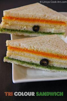 tricolour sandwich - indian food recipes