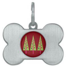 Christmas Trees Pet Name Tag #Christmas #Tree #Pet #Dog #Tag
