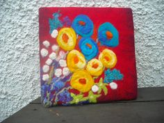 wet felted wall art abstractfloral art flower by SueForeyfibreart