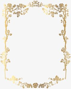 golden rectangular french floral border png picture, Gold, Frame, Flowers PNG Image and Clipart