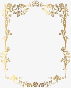 Moldura dourada retangular Flores PNG., Golden, Moldura, FloresImagem PNG