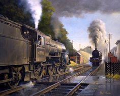 cz Fine Art Prints of Railway Scenes & Train Portraits - Summit Meeting Steam Trains Uk, Old Steam Train, Uk Rail, Steam Art, Steam Railway, Train Art, Train Pictures, British Rail, Steam Locomotive