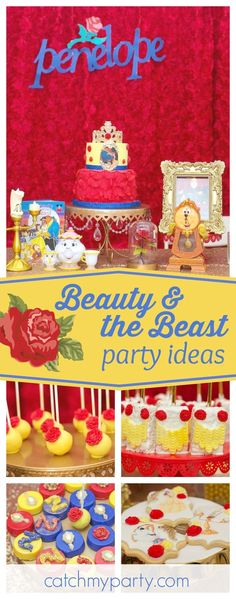 Take a look at this pretty Beauty & the Beast birthday party. The birthday cake is fantastic!! See more party ideas and share yours at CatchMyParty.com