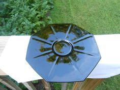 "Depression Era BLACK AMETHYST GLASS 10"" SERVING PLATE, Octagonal, Short Pedestal"