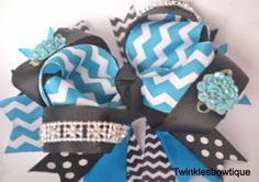 Chevron hairbows blue and black chevron by TwinklesBowtique, $10.00