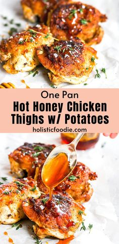 Hot honey chicken thighs! These crispy, chicken thighs are pan fried on a cast iron pan and then finished in the oven for an easy weeknight dinner. Topped with a wicked sweet and spicy, two-ingredient hot honey and served with crispy kale and potatoes. This is a healthier take on hot honey chicken that I know you'll love!