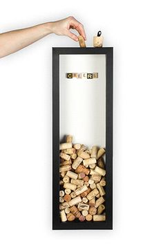"""Black """"Cheers"""" Cork Box — A place to stash your treasured wine corks! Wine Cork Art, Wine Cork Crafts, Wine Bottle Crafts, Wine Corks, Wine Bottles, Wine Cork Projects, Wooden Projects, Clay Pot Crafts, Shell Crafts"""