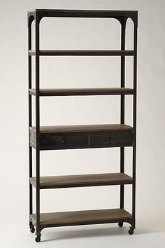 "Bookshelf  Caster legs  Five shelves, two drawers  Mango wood, iron  78.75""H, 35.5""W, 13.75""D  Imported  Style #: 960049"
