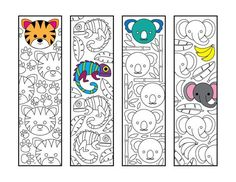 Cute Jungle Animal Bookmarks - PDF Zentangle Coloring Page - Tiger, Chameleon, Koala, Elephant Animal Coloring Pages, Adult Coloring Pages, Jungle Animals, Cute Animals, Valentines Day Coloring Page, Arts And Crafts Projects, Zentangle Patterns, Art Plastique, Printable Coloring Pages