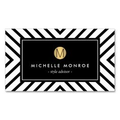 Retro Mod Black and White Pattern Gold Monogram Double-Sided Standard Business…