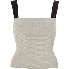 River Island White stripe square neck crop top ($20) ❤ liked on Polyvore