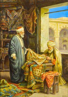 Carpet Seller - by Vittorio Rappini Art Arabe, Middle Eastern Art, Arabian Art, Islamic Paintings, Turkish Art, Historical Art, Egyptian Art, Land Art, Teaching Art