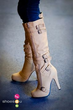 Camel coppy leather stiletto heel knee high boot with buckle decoration.
