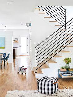 Diy farmhouse stair railing designs - stairway railing ideas better homes & gardens diy farmhouse stair Stairway Railing Ideas, Black Stair Railing, Staircase Railing Design, Wrought Iron Stair Railing, Black Stairs, White Staircase, Staircase Makeover, Staircase Railings, Modern Railings For Stairs