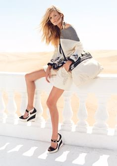 TWIN-SET Simona Barbieri: Knitwear pullover with rose embroidere, cotton pique shorts with stones embroidered, two-tone wedge sandal and two-tone Cécile bag