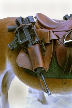 Just in case the zombie apocalypse happens while I'm trail riding. SW we need these on our saddles! Horse Saddles, Horse Tack, Horse Saddle Bags, Western Saddles, Side Pull, Cool Guns, Trail Riding, Guns And Ammo, Survival Gear