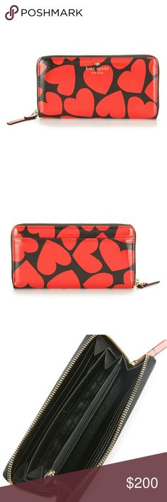Kate Spade Be Mine Heart Print Zip Around Wallet NWT this season, our lovable lacey--a continental-style zip-around wallet with 12 card slots, two billfolds, and an interior zippered pocket--is decorated with a bunch of bright red hearts, making it perfect for valentine's…and the other 364 days a year, too. crosshatched leather with matching trim zip around continental wallet 12 credit card slots, 2 billfolds, zipper change pocket and exterior slide pocket gold printed ksny signature and…