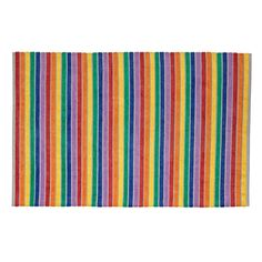 Shop 4x6 Rainbow Stripe Rug. This rainbow-striped rug is adorned with colorful hues that'll instantly brighten any room.