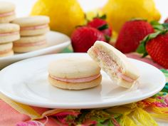 Strawberry Filled Lemon Sandwich Cookies...feelin' summer coming on!