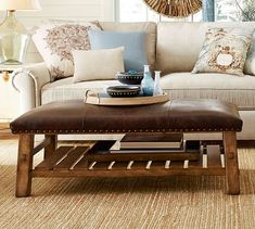 leather ottoman coffee table with tray   picadilly   pinterest
