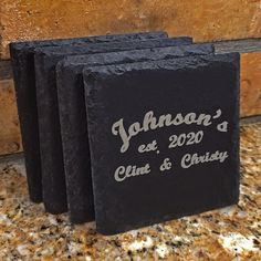 Personalized Slate Coasters  - Wedding Engraved Gift - Established Family Name - Stone - Groomsmen - Favor - Beer - Engraved - Drink by WaGiWorks on Etsy