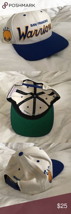 Make Me An Offer!! WARRIORS SnapBack Baseball Hat Make me an offer! In good condition except for small hole on top (pictured).  Off white, cobalt blue, gold. Accessories Hats