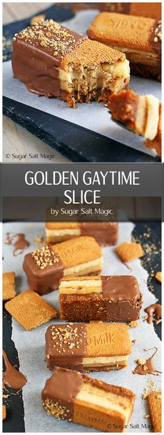 My Golden Gaytime Slice is inspired by the delicious Golden Gaytime ice cream. Full of all those same wonderful flavours of toffee and vanilla, the crunch of cookie and coated in chocolate. #goldengaytime #aussiefood via @sugarsaltmagic