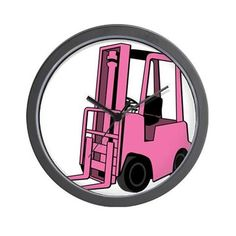 Pink Forklift Wall Clock