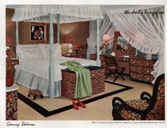 """This was called the """"Sewing Bedroom"""" - I think it's safe to stop sewing now...Armstrong vintage/retro Flooring ads. Living Room Designs, Living Spaces, Floral Bedroom, Farmhouse Side Table, Cute Dorm Rooms, Vintage Windows, Bedroom Layouts, Farmhouse Homes, Window Coverings"""