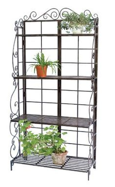 Panacea Products Baker's Rack Plant Stand, Brushed Bronze by Panacea Products. $149.91. Black in color; square metal bars form the framework and shelves, for a sturdy and classic look. Made of steel and metal construction will withstand the elements, for a sturdy holder year after year. Baker's rack plant stand. Powder coated finish. Measures 6.625-inches in width by 16.875-inches in depth by 75-inches in height. This bakers rack has four shelves which create storage or dis...
