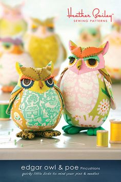 Edgar Owl & Poe Pincushions Pattern