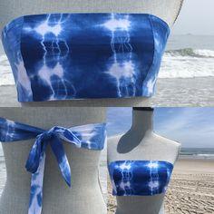 Bandeau bikini wrap top in soft cotton tie dye