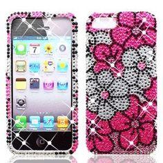 Pink Floral Designer Rhinestones Case Protector Cover