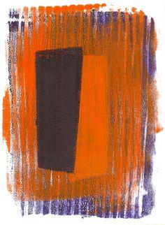 No.15 Violet/Orange Blocks, acrylic monoprint 2015