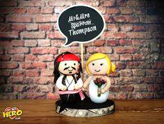 Jack Sparrow and Bride Pirates of the Caribbean Wedding Cake Topper Johnny Depp Custom Order Handmade Johnny Depp £65