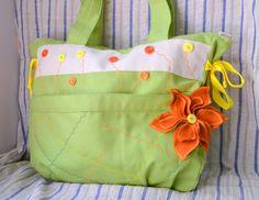 Travel bag diaper bag overnight bag large by PurpleFlowerPurses