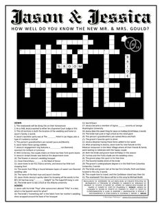 Customized Wedding Crossword Puzzle for Couples. Use as a reception game, favor, Save the Date, or at a rehearsal dinner. Do It Yourself.. $35.00, via Etsy.
