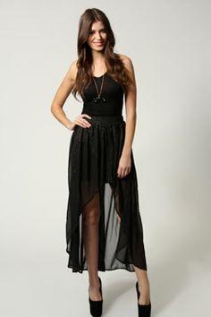 Isabella Gold Spot Chiffon Mixi Skirt at boohoo.com