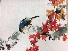 呂祐章 Chinese Brush, Chinese Art, Oriental Flowers, Chinese Painting, Asian Art, Painting & Drawing, Art Pieces, Birds, Autumn