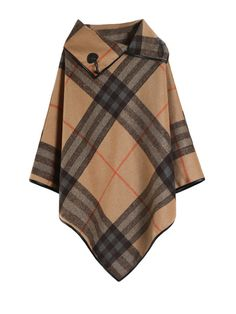 Three Quarter Sleeve Plaid Irregular Wool Cape Coat