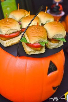 Halloween Trick or Treat Party by The Party Teacher - chicken nugget sandwiches Halloween Ball, Halloween Trick Or Treat, Halloween Kids, Halloween Treats, Teacher Party, Childrens Party, Baby Shower Parties, Party Printables, Party Planning