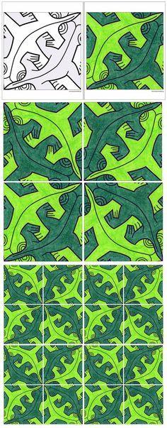 Art Projects for Kids: Escher Mural, Free Page Download, gratis, kleurplaat, groepswerk, basisschool