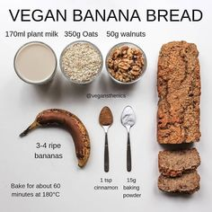 Vegan fitness nutrition info on my most saved post ever for good reason this is a must try from vegansthenics vegan banana bread by vegansthenics zoats das beste rezepte fr zucchini oats Vegan Sweets, Healthy Sweets, Healthy Baking, Vegan Desserts, Healthy Snacks, Vegan Recipes, Cooking Recipes, Tofu Recipes, Diet Recipes